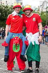 PARIS, FRANCE - Saturday, June 25, 2016: Wales supporters in Paris ahead of the match against Northern Ireland during the Round of 16 UEFA Euro 2016 Championship at the Parc des Princes. (Pic by Paul Greenwood/Propaganda)