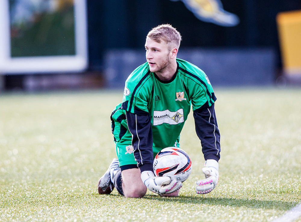 Alloa Athletic's keeper Scott Bain.<br /> Alloa Athletic 3 v 0 Falkirk, Scottish Championship game played today at Alloa Athletic's home ground, Recreation Park.<br /> © Michael Schofield.