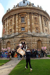 ©London News Pictures. 24/11/2010. Students march through Oxford in protest at the Governments spending cuts  and increase in tuition fees. The students later broke into the Radcliffe Camera library. Photo credit should read: London News Pictures