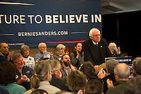 Democratic presidential candidate Bernie Sanders speaks to seniors at the Weirs Beach Community Center on Monday morning.  (Karen Bobotas/for the Laconia Daily Sun)