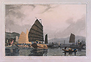 SCENE ON THE CANTON RIVER (Pearl River) colour print from the book ' A Picturesque Voyage to India by Way of China  ' by Thomas Daniell, R.A. and William Daniell, A.R.A. London : Printed for Longman, Hurst, Rees, and Orme, and William Daniell by Thomas Davison, 1810. The Daniells' original watercolors for the scenes depicted herein are now at the Yale Center for British Art, Department of Rare Books and Manuscripts,