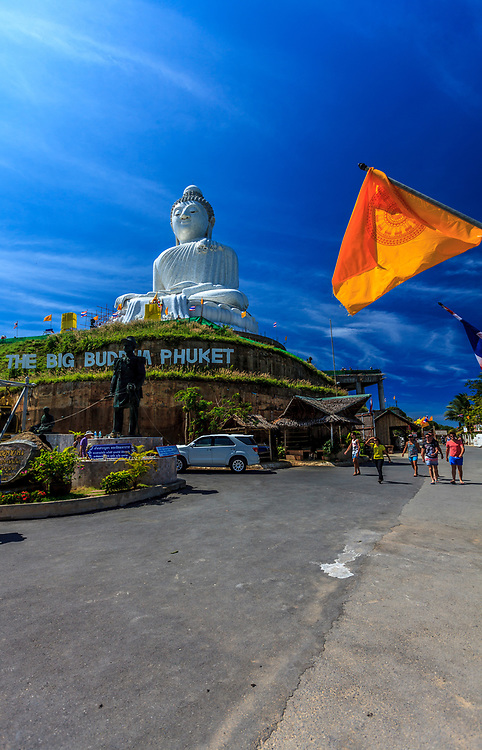 Phuket's Big Buddha in Phuket Island, Thailand. The Giant Buddha or Phra Puttamingmongkol Akenakkiri Buddha, as it is known locally, has its whole body layered with shining white Burmese marble, making it a natural symbol of hope.