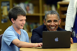 President Barack Obama and eighth grader Sam Montgomery laugh during a tour of Mooresville Middle School in Mooresville, North Carolina, USA, Thursday, June 6, 2013. Obama unveiled a plan to connect nearly every U.S. classroom to high-speed Internet during a speech at the school. Photo by John D. Simmons/Charlotte Observer/MCT/ABACAPRESS.COM  | 367879_005 Mooresville Etats-Unis United States