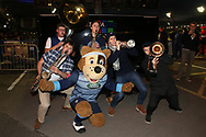 Cardiff Blues mascot Bruiser joins in with the band. Guinness Pro14 rugby match, Cardiff Blues v Dragons at the Cardiff Arms Park in Cardiff, South Wales on Friday 6th October 2017.<br /> pic by Andrew Orchard, Andrew Orchard sports photography.