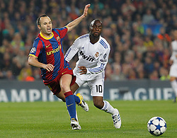 03-05-2011 VOETBAL: SEMI FINAL CL  FC BARCELONA - REAL MADRID: BARCELONA<br /> Andres Iniesta (l) and Lass Diarra <br /> *** NETHERLANDS ONLY***<br /> ©2011-FH.nl- EXPA/ Alterphotos/ Acero