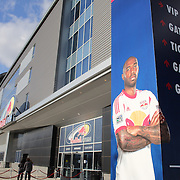 Red Bull Arena, home of the New York Red Bulls, with a poster of Thierry Henry outside the stadium before the New York Red Bulls V Houston Dynamo, Major League Soccer regular season match at Red Bull Arena, Harrison, New Jersey. USA. 23rd April 2014. Photo Tim Clayton