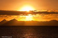 The sunrise over Isla Carmen in the Gulf of California from Loreto Mexico