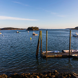Lobster boats moored in the harbor in Lubec, Maine.