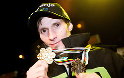 Robert Kranjec with medals during reception of Slovenian Ski jumping team after they get bronze team medal and R. Kranjec became World Champion at FIS Ski Flying World Championships 2012 in Vikersund, Norway, on February 28, 2012 in Kongresni try, Ljubljana, Slovenia.  (Photo By Vid Ponikvar / Sportida.com)