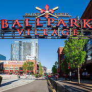 Signage of Ballpark Village entry, St. Louis, MO.