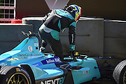 Oliver Turvey of Great Britain and Nextev TCR gets out of the car after his crash during Round 9 of Formula E, Battersea Park, London, United Kingdom on 2 July 2016. Photo by Martin Cole.