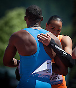 Pascal Martinot-Lagarde of France celebrates his 13.13 win of the Prefontaine Classic Men's 110m Hurdles. He is congratulated by second place finisher Hansle Parchment of Jamaica. The Prefontaine Classic, the longest-running international invitational meet in the United States, turns 40 this year.<br /> The 2014 elite competition held in Eugene, Oregon at the University of Oregon's historic Hayward Field is in it's 5th year hosting the IAAF's Diamond League event.