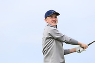 Darrah Behan (Naas) on the 1st tee during Round 2 of the Connacht U16 Boys Amateur Open Championship at Galway Bay Golf Club, Oranmore, Galway on Wednesday 17th April 2019.<br /> Picture:  Thos Caffrey / www.golffile.ie