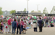 Reading, Berkshire, 21st September 2003, Zurich Premiership Rugby  London Irish v Gloucester Rugby,  Madejski Stadium, <br /> [Mandatory Credit; Peter Spurrier/Intersport Images]Zurich Premiership Rugby - London Irish v Gloucester<br /> Pre game entertainment at the front of the stadium.<br /> Crowds gather at the front of the stadium , Spectators gather outside the stadium, prior to the game,