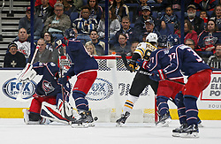 October 30, 2017 - Columbus, OH, USA - Columbus Blue Jackets goalie Sergei Bobrovsky (72) allows Boston Bruins left wing Brad Marchand (63), not in photo, to score during the third period of their NHL game at Nationwide Arena in Columbus, Ohio on Oct. 30, 2017. (Credit Image: © Kyle Robertson/TNS via ZUMA Wire)