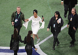 Gladys Knight takes the field for the national anthem before the New England Patriots play the Los Angeles Rams in Super Bowl LIII at Mercedes-Benz Stadium in Atlanta, GA, USA on Sunday, February 3, 2019. Photo by John Spink/Atlanta Journal-Constitution/TNS/ABACAPRESS.COM