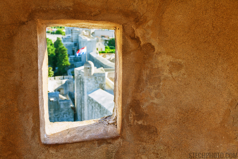 """The interior and window of an outpost on the wall surrounding the old city of Dubrovnik, Croatia. <br /> <br /> Dubrovnik serves as the official setting of """"King's Landing"""" from the popular TV show """"Game of Thrones""""."""