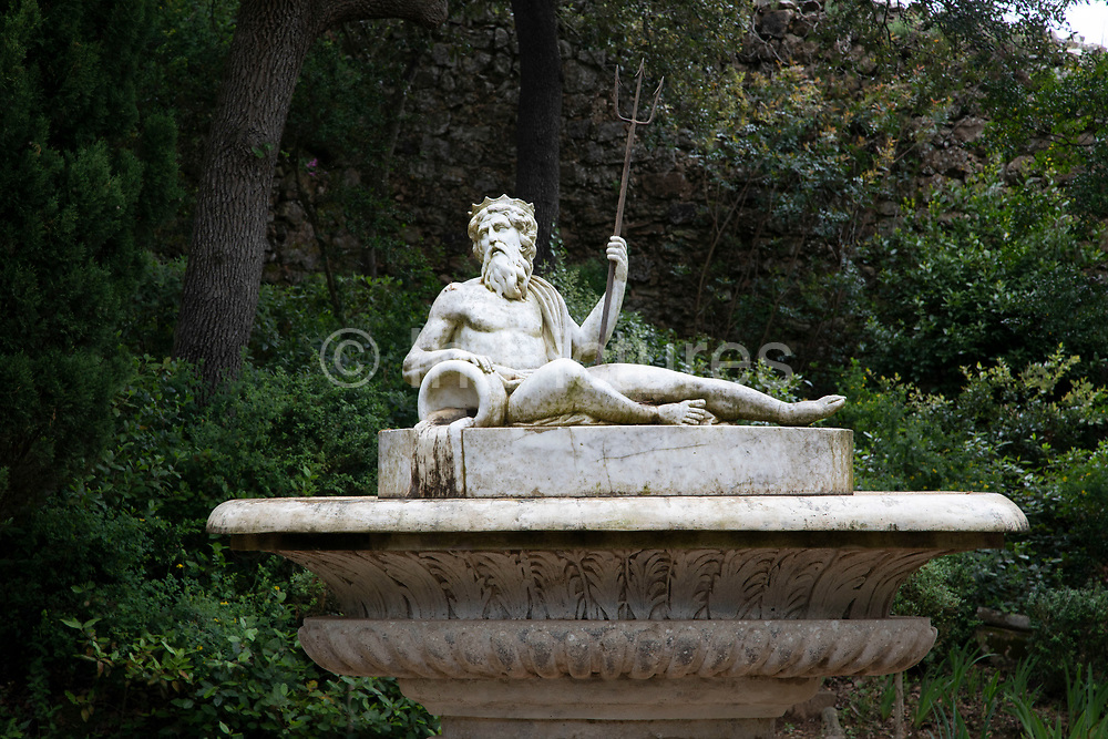 Sculpture of Zeus in the gardens at Fontfroide Abbey near Narbonne, France. Fontfroide Abbey is a former Cistercian monastery in France, situated 15 kilometers south-west of Narbonne. It was founded in 1093 by Aimery I, Viscount of Narbonne, but remained poor and obscure, and needed to be refounded by Ermengarde, Viscountess of Narbonne. The abbey fought together with Pope Innocent III against the heretical doctrine of the Cathars who lived in the region. It was dissolved in 1791 in the course of the French Revolution. The premises, which are of very great architectural interest, passed into private hands in 1908, when the artists Gustave and Madeleine Fayet dAndoque bought it to protect the fabric of the buildings from an American collector of sculpture. They restored it over a number of years and used it as a centre for artistic projects. It still remains in private hands. Today it is open to paying guests.