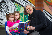 NO FEE PICTURES<br /> 26/3/16 Children nationwide will soon have the opportunity to meet their favourite Irish authors in a new and unique setting. Announced today, the partnership between children's publisher Little Island Books and BUMBLEance, The Children's National Ambulance Service will see children's authors visiting schools, festivals and libraries on board BUMBLEance to read from their work and to meet with children across primary and secondary schools nationwide. <br /> Kate Halon aged 4 and Zara Hanlon age 2 sisters from Artane Dublin 5 with Author Siobhan Parkinson.  Pictures: Arthur Carron