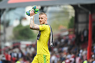 Brentford Goalkeeper Daniel Bentley (1) applauds the crowd after the EFL Sky Bet Championship match between Brentford and Queens Park Rangers at Griffin Park, London, England on 21 April 2018. Picture by Stephen Wright.