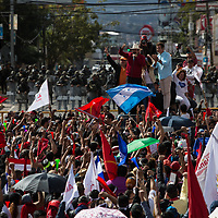 Mel Zelaya and Salvador Nasralla spoke to crowds in a demonstration against electoral fraud in Tegcuigalpa