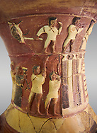 Hüseyindede vases, Old Hittite Polychrome Relief vessel close up  depicting top and second friezes showing a procession of musicians and dancers moving towards a temple building, 16th century BC. Huseyindede. Çorum Archaeological Museum, Corum, Turkey .<br /> <br /> If you prefer to buy from our ALAMY STOCK LIBRARY page at https://www.alamy.com/portfolio/paul-williams-funkystock/hittite-art-antiquities.html  - Huseyindede into the LOWER SEARCH WITHIN GALLERY box. Refine search by adding background colour, place, museum etc<br /> <br /> Visit our HITTITE PHOTO COLLECTIONS for more photos to download or buy as wall art prints https://funkystock.photoshelter.com/gallery-collection/The-Hittites-Art-Artefacts-Antiquities-Historic-Sites-Pictures-Images-of/C0000NUBSMhSc3Oo