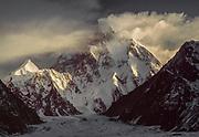 K2, winter storm from Godwin Austen glacier, Karakoram, Pakistan