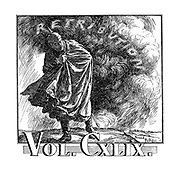 (Punch volume heading, Vol. CXLIX - Kaiser Wilhelm turns to see a cloud of retributuon following him)