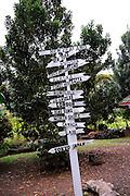 Signpost on island of Oahu, Hawaii.