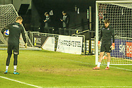 Exeter goalkeepers Jonny Maxted and Lewis Ward inspect the goalmouth as the rain falls during the EFL Sky Bet League 2 match between Harrogate Town and Exeter City at the EnviroVent Stadium, Harrogate, United Kingdom on 19 January 2021.