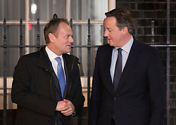© Licensed to London News Pictures. 31/01/2016. London, UK.  Prime Minister David Cameron (R)  meets with the President of the European Council Donald Tusk on the steps of Number 10 Downing Street. Photo credit: Peter Macdiarmid/LNP