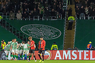 Old habits - Celtic celebrate in front of the empty section of the stadium during the Europa League match between Celtic and Rennes at Celtic Park, Glasgow, Scotland on 28 November 2019.
