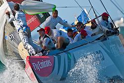 Artemis (SWE) races Mascalzone Latino (ITA), race day 5, Round Robin 1. Auckland, New Zealand, March 14th 2010. Louis Vuitton Trophy  Auckland (8-21 March 2010) © Sander van der Borch / Artemis