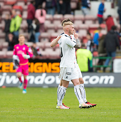 Falkirk's Craig Sibbald and Falkirk's Luke Leahy at the end, towards the Dunfermline fans. Dunfermline 1 v 2 Falkirk, Scottish Championship game played 22/4/2017 at Dunfermline's home ground, East End Park.
