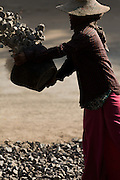 Young woman dumping a bucket of rocks on a road under construction, Chindwin Riverbank