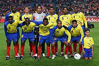 Fotball<br /> Foto: Witters/Digitalsport<br /> NORWAY ONLY<br /> <br /> Ecuador Team <br /> hinten v.l. Geovanny Espinoza, Patricio Urrutia, Cristhian Mora<br /> Ivan Hurtado, Antonio Valencia, Carlos Tenorio, vorne v.l. Edison Mendez, Neicer <br /> Reasco, Cristhian Benitez, Marlon Ayovi, Ulsises De La Cruz<br /> Fussball Ecuador