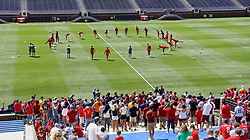 ANN ARBOR, USA - Friday, July 27, 2018: Liverpool supporters watch during a training session ahead of the preseason International Champions Cup match between Manchester United FC and Liverpool FC at the Michigan Stadium. (Pic by David Rawcliffe/Propaganda)