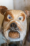 A papier mache dog at The People Tree boutique Champa Gali, New Delhi, India. Champa Gali is the latest and most intimate of Delhis urban creative villages.