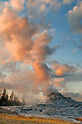 Castle Geyser at Sunset, Yellowstone National Park, Wyoming
