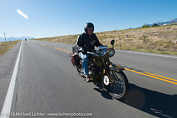Jeff Tiernan riding his 1929 Henderson KJ during stage 12 (299 m) of the Motorcycle Cannonball Cross-Country Endurance Run, which on this day ran from Springville, UT to Elko, NV, USA. Wednesday, September 17, 2014.  Photography ©2014 Michael Lichter.
