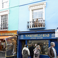 Antique shops and colourful facades in Portobello Road, London
