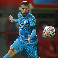 PIRAEUS, GREECE - OCTOBER 21: Darío Benedetto of Olympique de Marseille during the UEFA Champions League Group C stage match between Olympiacos FC and Olympique de Marseille at Karaiskakis Stadium on October 21, 2020 in Piraeus, Greece. (Photo by MB Media)
