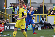 AFC Wimbledon striker Cody McDonald (10) with hand to mouth after a miss during the EFL Sky Bet League 1 match between AFC Wimbledon and Oxford United at the Cherry Red Records Stadium, Kingston, England on 10 March 2018. Picture by Matthew Redman.