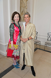 Left to right, JANINE ULFANE and HELEN BROMOVSKY at a party to celebrate the 150th anniversary of Wartski held at The Orangery, Kensington Palace, London, on 19th May 2015.