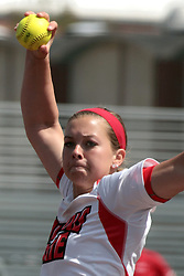 09 May 2014:   Regan Romshek during an NCAA Missouri Valley Conference (MVC) Championship series women's softball game between the Loyola Ramblers and the Illinois State Redbirds on Marian Kneer Field in Normal IL