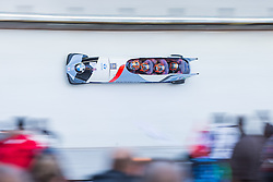 21.02.2016, Olympiaeisbahn Igls, Innsbruck, AUT, FIBT WM, Bob und Skeleton, Herren, Viererbob, 3. Lauf, im Bild Yunjong Won, Jinsu Kim, Kyunghyun Kim, Jeahan Oh (KOR) // Yunjong Won Jinsu Kim Kyunghyun Kim Jeahan Oh of Republic of Korea compete during Four-Man Bobsleigh 3rd run of FIBT Bobsleigh and Skeleton World Championships at the Olympiaeisbahn Igls in Innsbruck, Austria on 2016/02/21. EXPA Pictures © 2016, PhotoCredit: EXPA/ Johann Groder