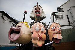 © Licensed to London News Pictures. 05/11/2016. Lewes, UK.  A float with the heads of Theresa May, Boris Johnson, David Cameron and Nigel Farage awaits the start of the annual bonfire night parade through the streets of Lewes in East Sussex. The celebrations, which mark the Guy Fawkes 1605 Gunpowder Plot to blow up Parliament, date back to the 1850s. Photo credit: Rob Pinney/LNP