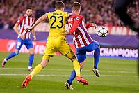 Atletico de Madrid's player Fernando Torres and CF Rostov's player Miha Mevlja during a match of UEFA Champions League at Vicente Calderon Stadium in Madrid. November 01, Spain. 2016. (ALTERPHOTOS/BorjaB.Hojas)