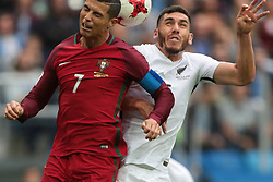 June 24, 2017 - Saint Petersburg, Russia - Cristiano Ronaldo (L) of the Portugal national football team and Michael Boxall of the New Zealand national football team vie for the ball during the 2017 FIFA Confederations Cup match, first stage - Group A between New Zealand and Portugal at Saint Petersburg Stadium on June 24, 2017 in St. Petersburg, Russia. (Credit Image: © Igor Russak/NurPhoto via ZUMA Press)