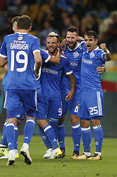 August 24, 2017 - Dynamo players celebrate after     Mykola Morozyuk      (C) scores goal during the Europa League second play-off soccer match between FC Dynamo Kyiv and FC Maritimo, at the Olimpiyskyi stadium in Kyiv, Ukraine, August 24, 2017. (Credit Image: © Anatolii Stepanov via ZUMA Wire)